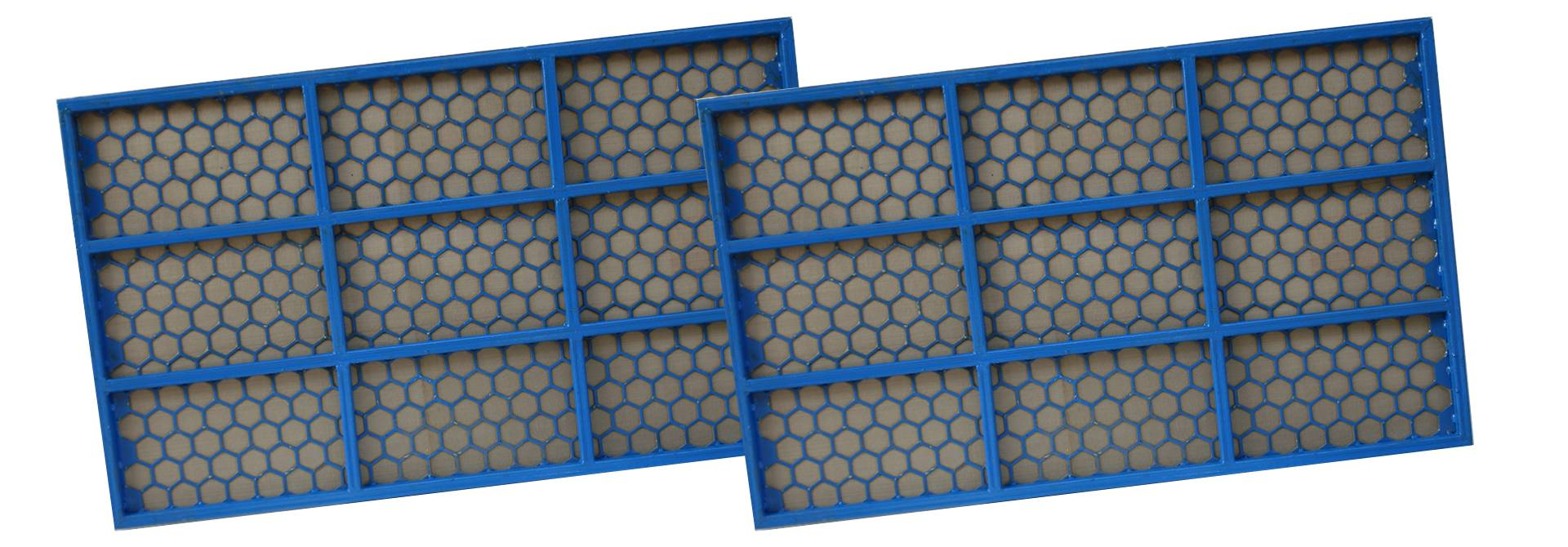 Two pieces of flat shale shaker screen with blue frame.