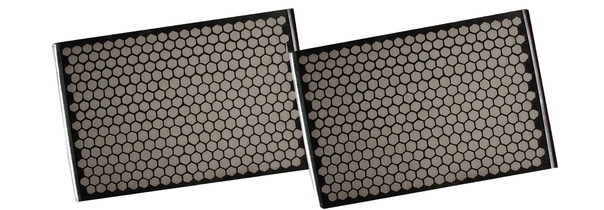 Two black flat shale shaker screens with hook strips.