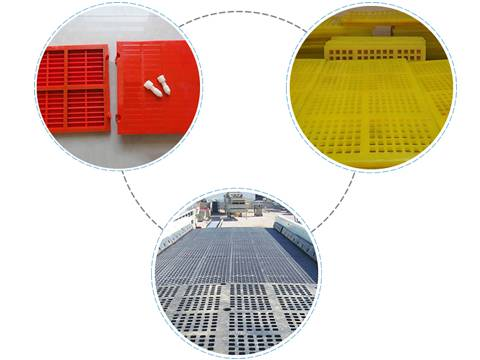 Three types of polyurethane shale shaker screens on a circle.